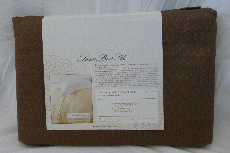 3 pc Sferra Ella 100% Egyptian Cotton Full   Queen Blanket Cover & Shams Set New