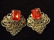 Vintage Filigree Scroll Lace Metalwork Ruby Red Rhinestone Large Post Earrings