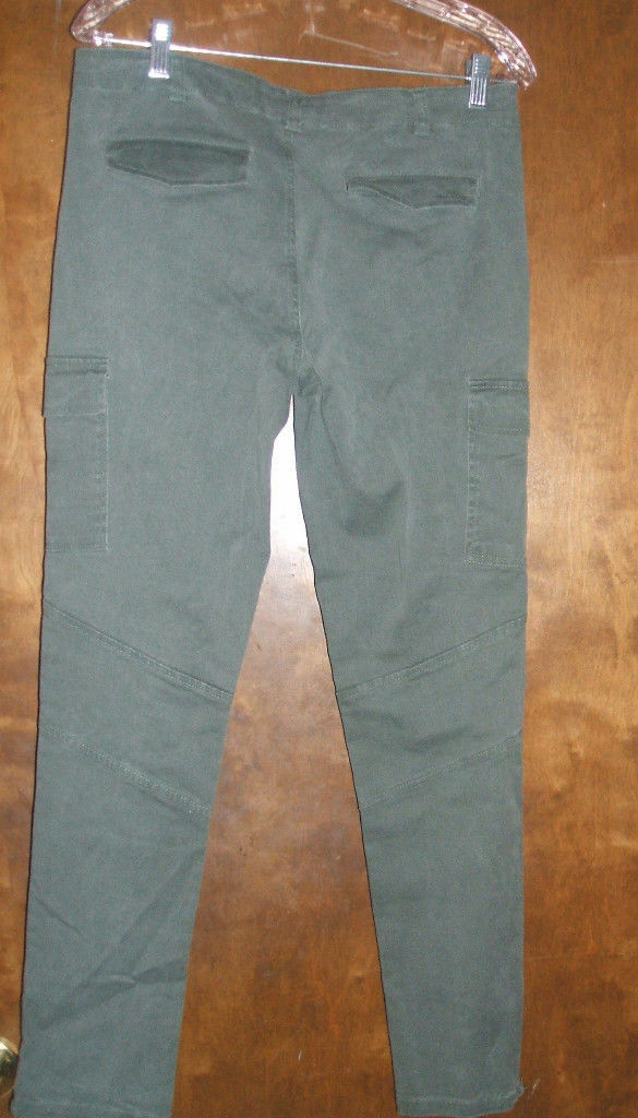 PER SE' OLIVE GREEN STRETCH CARGO PANTS ZIPPERED ANKLESZ 8NWOTGS