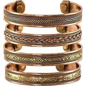 Set-of-4-Tibetan-Copper-Bracelets-Womens-Mens-Magnetic-India-Pattern-Bangles