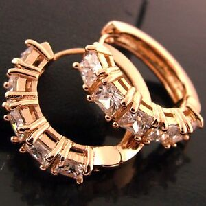 FSAN540-GENUINE-18K-ROSE-G-F-GOLD-SOLID-DIAMOND-SIMULATED-HUGGIE-HOOP-EARRINGS