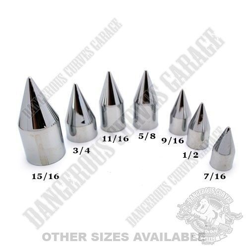 """15 Chrome Press On Spike Nut /& Bolt Covers for 9//16/"""" Socket Size Car /& Truck"""