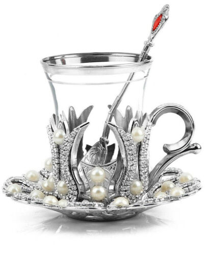 Turkish Tea Glass Tea Mug,Turkish TeaCup Set and Saucer Gold Silver One Person