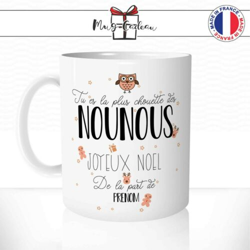 Mug Nounou La plus Chouette Joyeux Noel Tasse Prénom Personnalisable Idée Cadeau