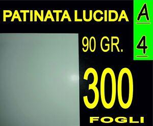 300 FOGLI A5 CARTA PATINATA LUCIDA STAMPANTI LASER VOLANTINI 90g