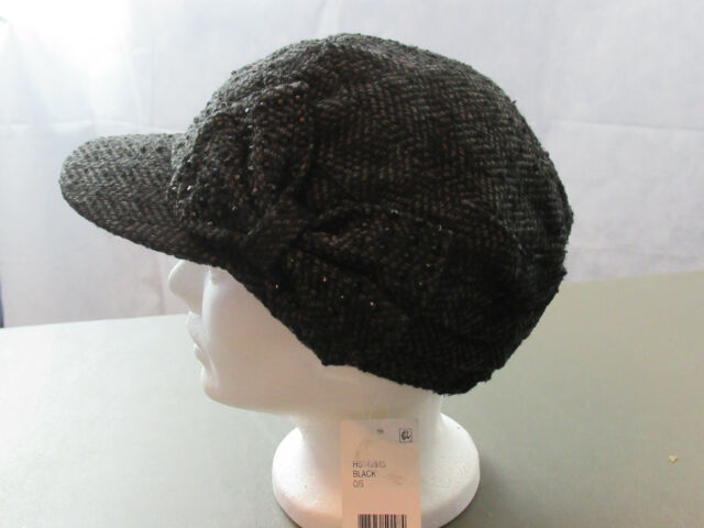 Collection XIIX Women s Chevron Studded Military Cap Black One Size ... 2ca7f795366e
