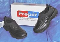 Mens Propet, Black Leather, Slip-on Walking Shoe, 8 M ( D )