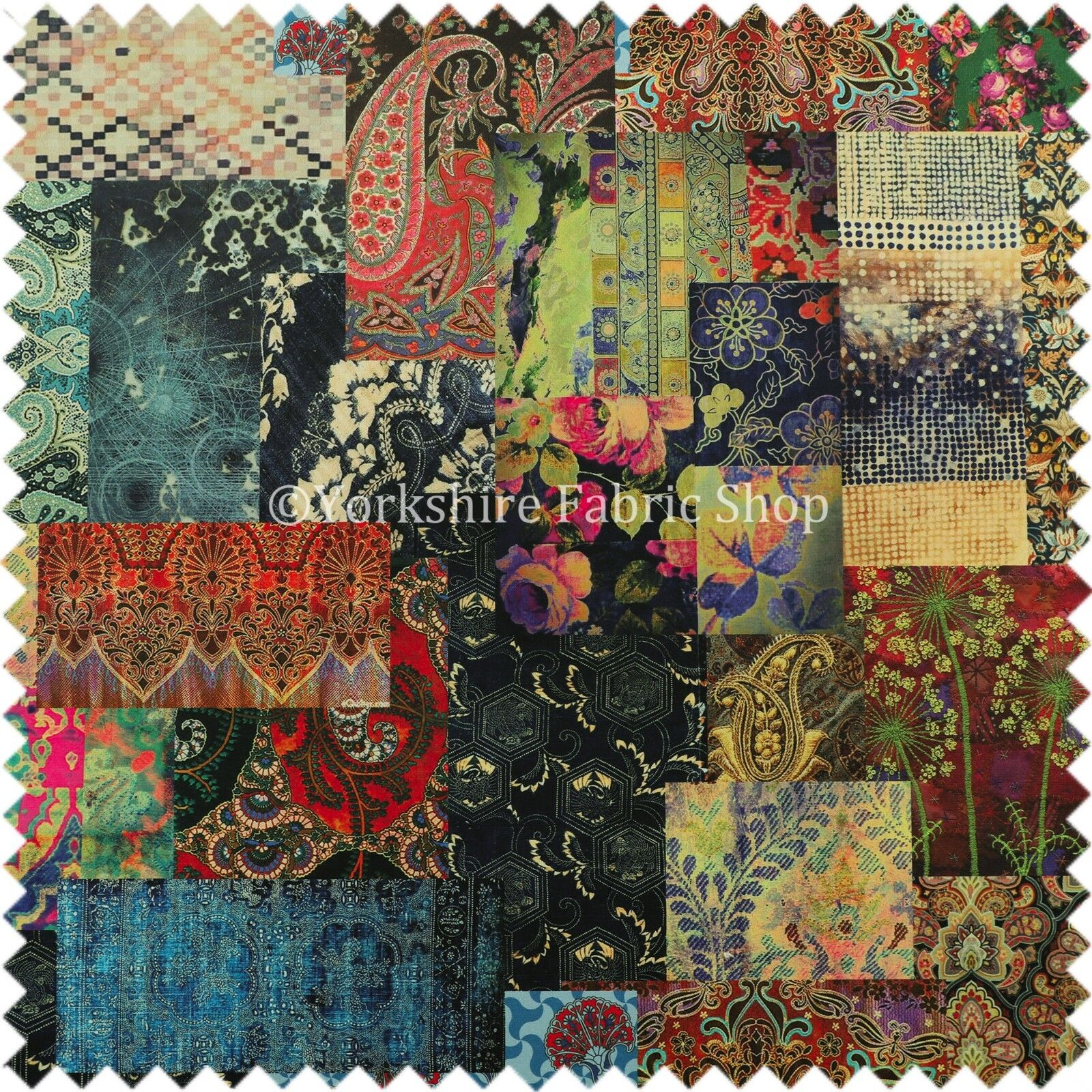 Modern printed velvet wonderland patchwork multi coloured for Modern fabrics textiles