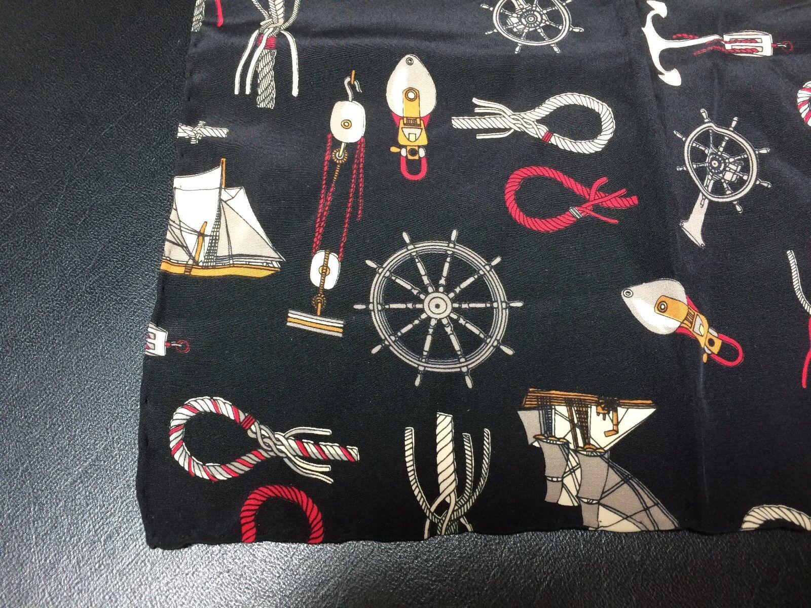 Brioni Silk Pocket Square Handkerchief Nautical Yachting Black 12