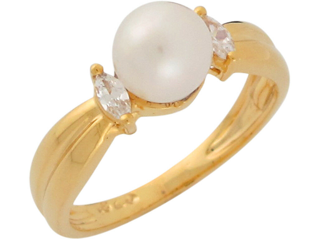 10k or 14k Yellow gold Cultured Pearl Nnd White CZ Simply Classic Ladies Ring