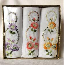 Vintage Set Of 3 Embroidered Women's Handkerchiefs Hankies NEW NIB