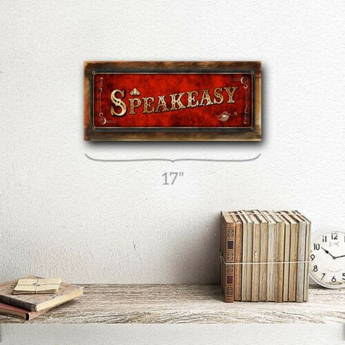 Red Speakeasy Metal Sign; Wall Decor for Home and Office