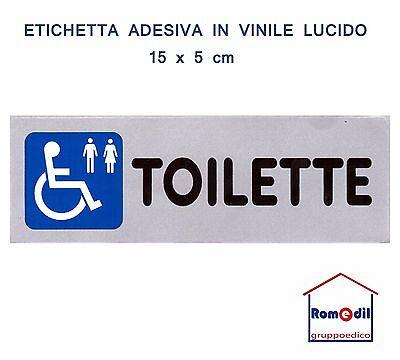 5 Etichetta Segnaletica TOILETTE DISABILE UOMO DONNA Adesiva bagno 15 x 5 CM