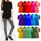 Ladies Women Stretch Plain Polo Neck Short Sleeve Top T-Shirt Jumper Plus Size