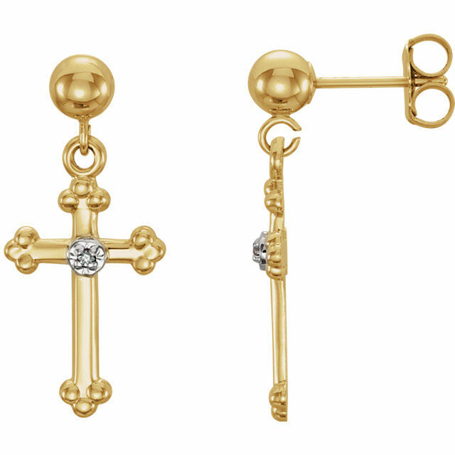 Diamond Cross Dangle Earrings In 14K Yellow gold