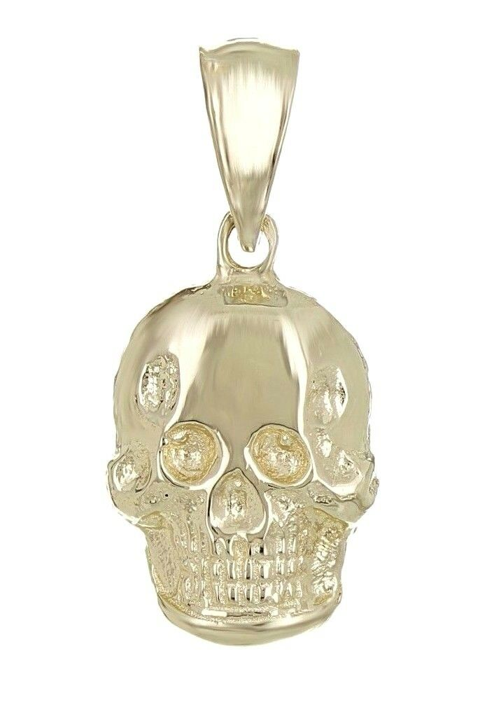 14k Yellow gold Solid Small Skull Charm Pendant 1.4g