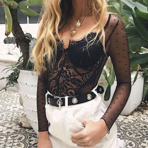 Lady Women Sheer Lace Bodysuit  V Neck Long Sleeve Shirt .Tops Jumpsuit  UQ