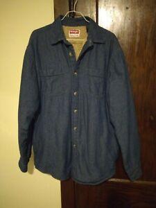 VINTAGE-90s-Mens-Wrangler-Sherpa-Fleece-Lined-Thick-Denim-B-D-Shirt-Jacket-SZ-M