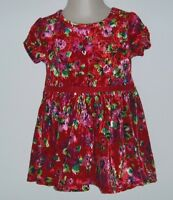 The Childrens Place Girls Dress Red Velvet Floral Print Dress Size 9-12 Mos.