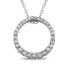 Sterling Silver 1/3 Ct TDW Diamond Circle Necklace H-I I3