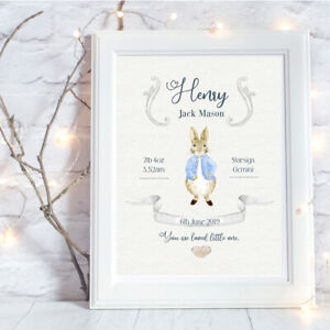Personalised-A4-Print-New-Baby-Peter-Rabbit-Family-Gift-Wall-Art-NO-FRAME
