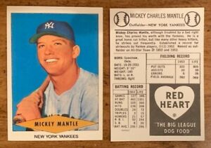 Details About 90 Mickey Mantle New York Yankees Red Heart Baseball Card Reprint Lot