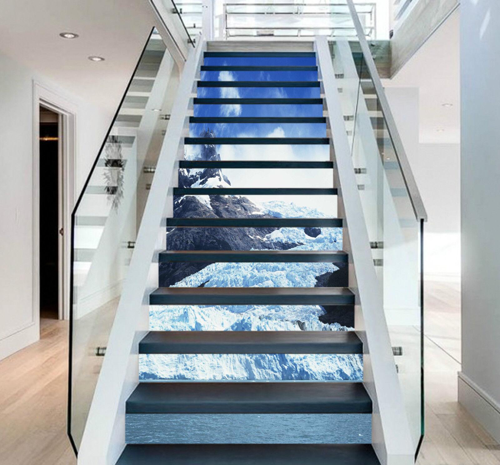 3D Schneehügel 320 Stair Risers Dekoration Fototapete Vinyl Aufkleber Tapete DE