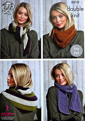KNITTING PATTERN Ladies Easy Knit Hats and Cowls//Snoods Drifter Aran KC 5270