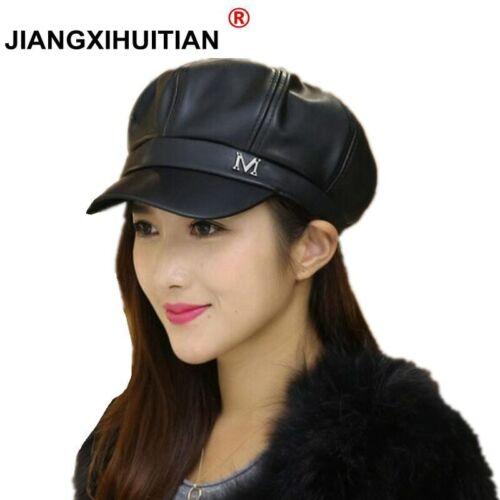 gorras para mujer de Cuero estilo vintage cachuchas casuales moda Boinas estilo