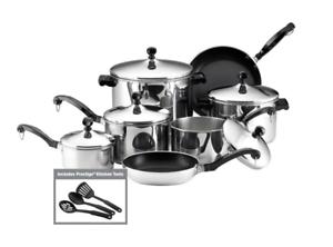 Farberware Classic Stainless Steel 15-Piece Sauce Pots Pans w  Lids Cookware Set