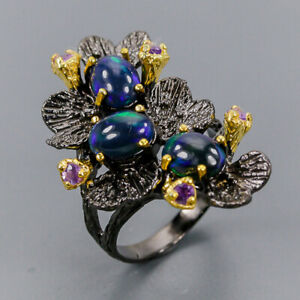 Black-Opal-Ring-Silver-925-Sterling-Quality-AAA-8x6-mm-Size-8-R138078
