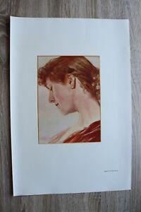 Kunst-Blatt-nach-Aquarell-v-Ernst-Roeber-1895-1910-Dame-im-Profil-Druck-41x29cm