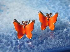 Ohrstecker Ohrring Schmetterling orange emailliert vergoldet butterfly papillon