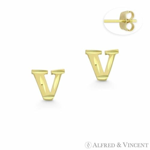 Initial Letter V Petite Baby Stud 14k Yellow Gold Stamping Push-Back Earrings