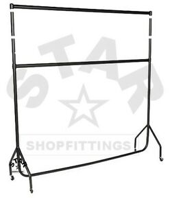 DOUBLE-5Ft-Long-x-5ft-High-HEAVY-DUTY-CLOTHES-GARMENT-DRESS-RAIL-RACK-STAND-NEW