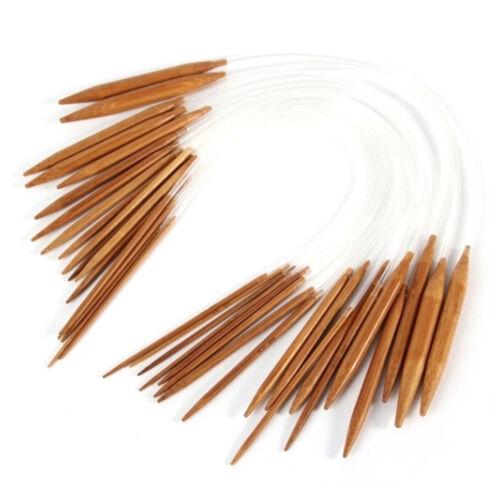 "18Pairs Bamboo Knitting Needles 16/"" Circular Smooth Nature Carbonized Set A"