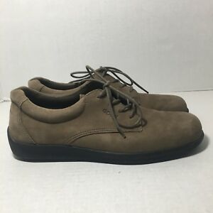 Ecco-Womens-Shoes-39-Brown-Tan-Suede-Nubuck-Lace-Up-Oxfords-Casual-Walking-8-8-5