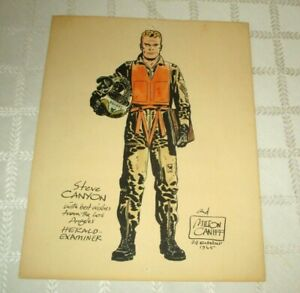 1965-MILTON CANIFF-STEVE CANYON-WATERCOLOR ART DRAWING-OCT-24-1965 SIGNED-11X 14