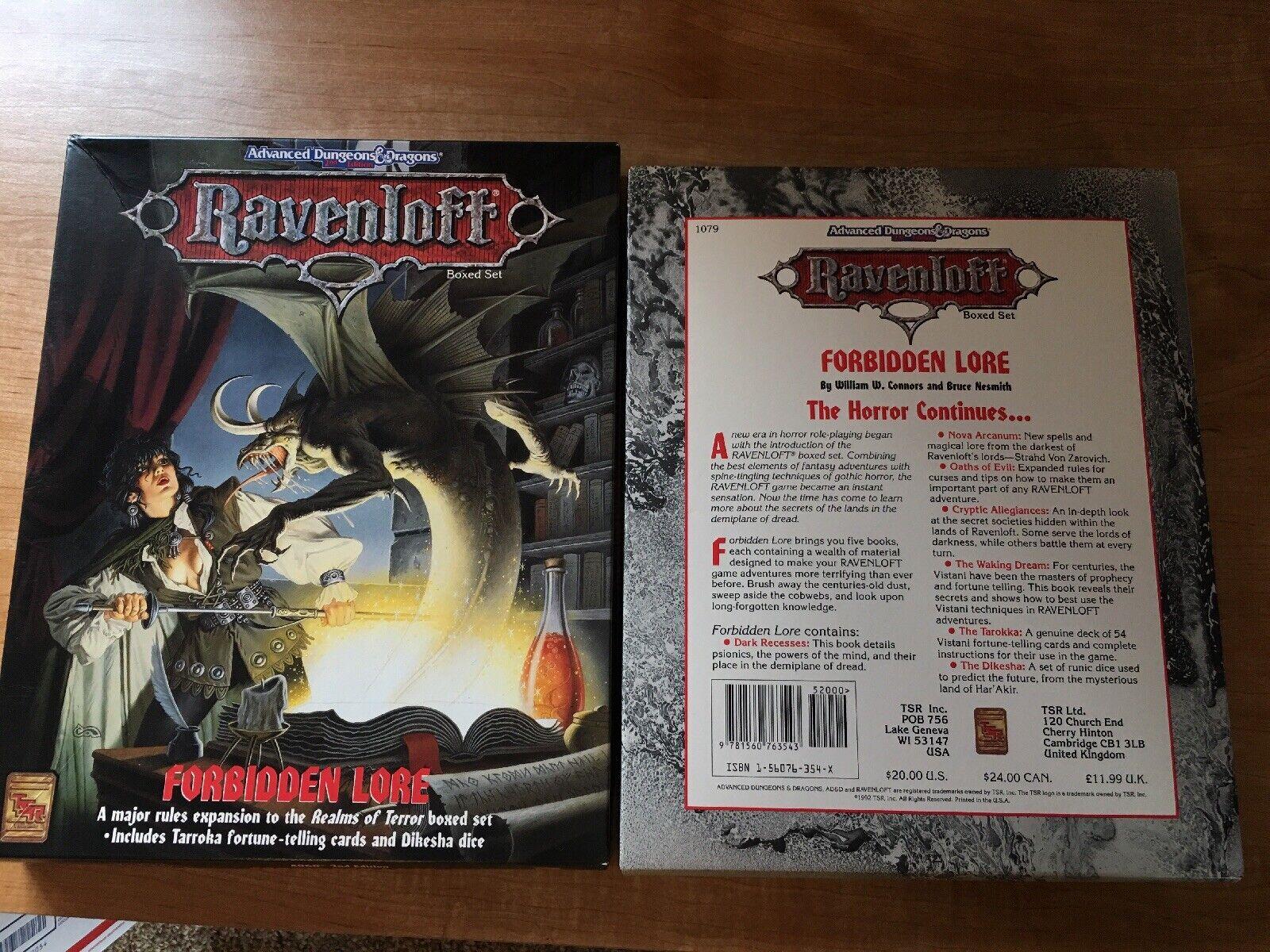 AD&D Ravenloft prohibido Lore 1079 conjunto menta contenido sin usar los reinos de terror TSR