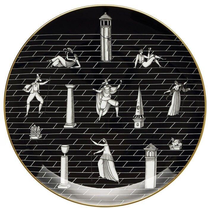 Passeggiata Archeologica, Piatto Parete Parete Parete 33 cm Nero, Porcellana, Richard Ginori 63ea06