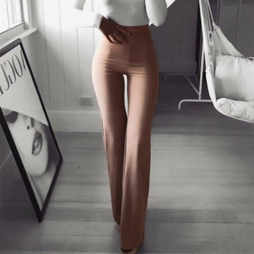 Womens High Waist Pants Fashion Solid Elasticity Leggings Bell-bottoms Pants UK