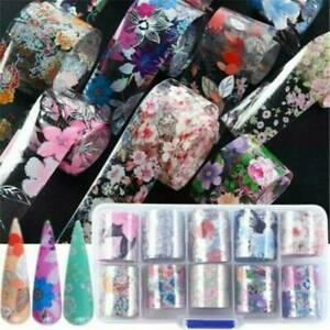 Flower-Transfer-Nail-Foil-Nail-Art-Stickers-Manicure-Decor-Holographic-Decals