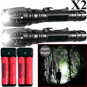 350000LM T6 LED Flashlight Rechargeable Zoom Military Torch Headlamp Work Light