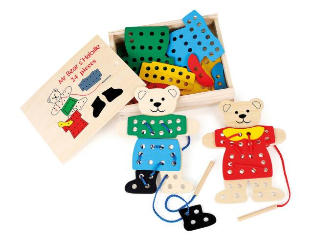 Fädelspiel Anziehbären für Kinder Spielzeug aus Holz Feinmotorik ab 3 Jahre