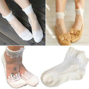 9ff89e5d03 Details about 1-4Pair White Floral Lace Elastic Ruffle Top Ankle Socks  Ultra Thin Sheer Cotton