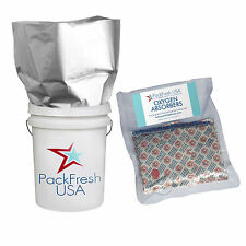 (5) 5 Gallon GENUINE Mylar Bags + (5) 2000cc Oxygen Absorbers + FREE LTFS Guide