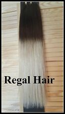 "18""DELUXE FULL HEAD WEAVE/WEFT 150G #2/20 OMBRE REMY HAIR WEFT Dark Brown/Blonde"
