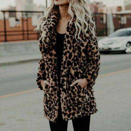 Outwear Overcoat Faux Fur UK Winter Leopard Print Cardigans Jacket Women/'s Coat