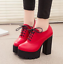 Women-039-s-Platform-High-Chunky-Heels-Pumps-Lace-Up-Casual-Shoes-Boots-PU-Leather thumbnail 12