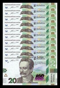 100% De Qualité B-d-m Ucrania Lot Bundle 10 Banknotes 20 Hryven Ivan Franko 2016 Pick 128 Sc Unc Riche Et Magnifique